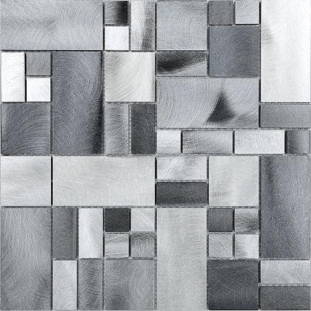 metal metallic gray aluminum mosaic kitchen backsplash tile 12 x12