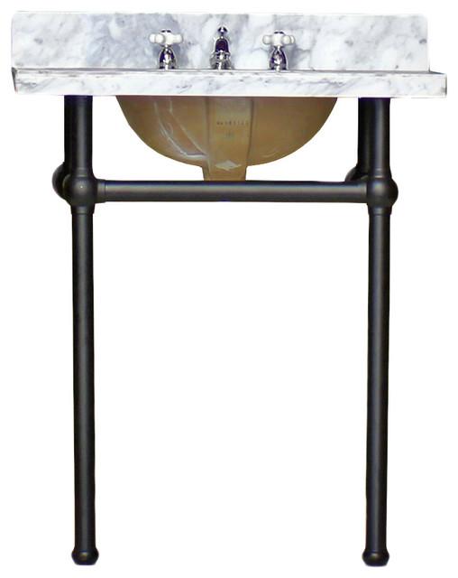 art deco vanity matte black legs white carrara marble bath console