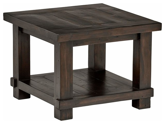 modern rustic side table in solid pine wood with open shelf for extra storage