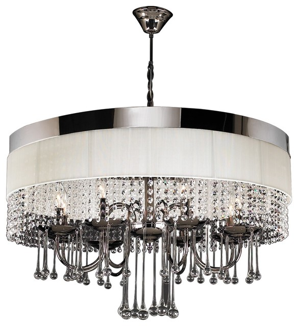 Elisa Modern Black Chrome White Linen Crystal Chandelier Contemporary Chandeliers