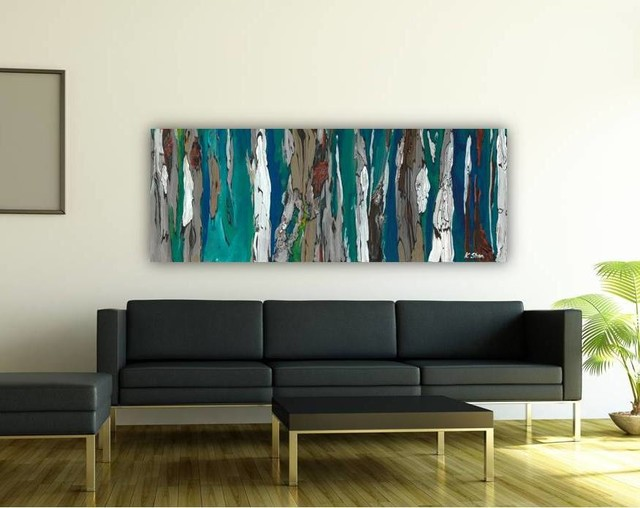 Contemporary Modern Artwork In Living Room Dining Room