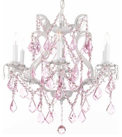 White Wrought Iron Crystal Chandelier With Pink Traditional Chandeliers