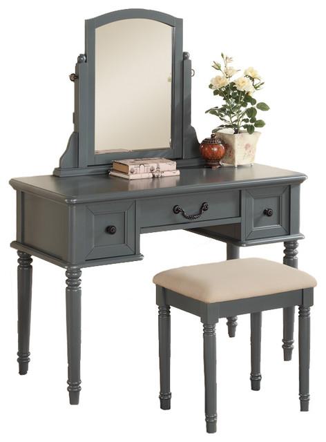 3-Piece Makeup Vanity Set With Swivel Mirror and Bench ... on Makeup Bedroom  id=53933