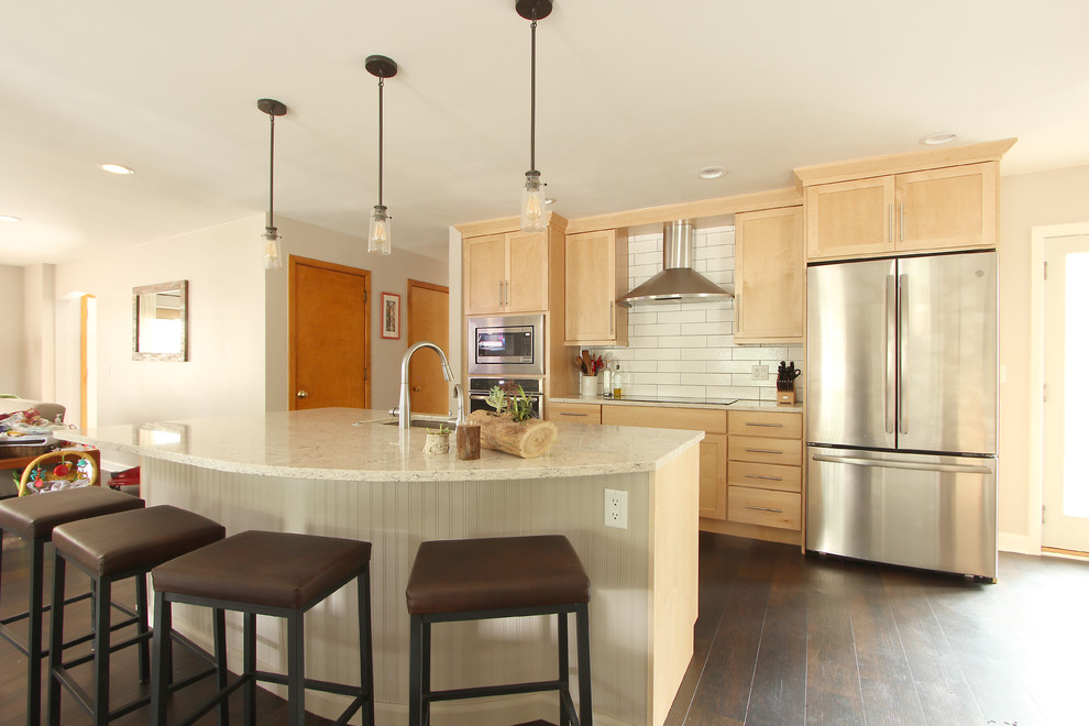 Natural Maple Cabinets in Open Kitchen with Quartz ... on Natural Maple Cabinets With Quartz Countertops  id=65529