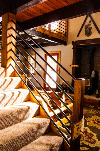 Serene Lakes Cabin Rustic Staircase Other By J   Rustic Stair Railings Interior