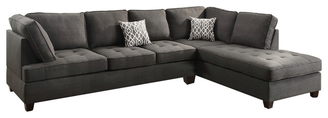 modern contemporary sectional sofa with reversible chaise charcoal gray black