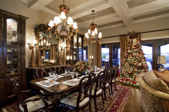 Traditional Christmas Living and Dining Room   British Colonial     Interior Designers   Decorators  Traditional Christmas Living and Dining  Room british colonial dining room
