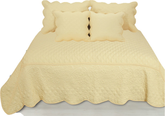 5 Piece Quilted Yellow Buttercup Puffs Bedspread Set Farmhouse Quilts And Quilt Sets By