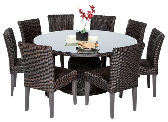 venice 60 outdoor patio dining table with 8 armless chairs