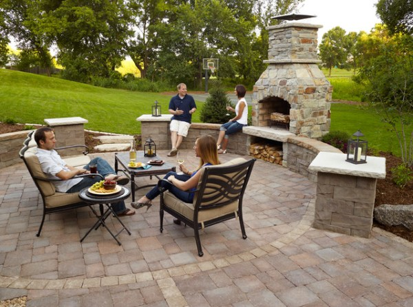 paver patio designs with fireplace Outdoor Fireplace: Paver patio with seat wall and