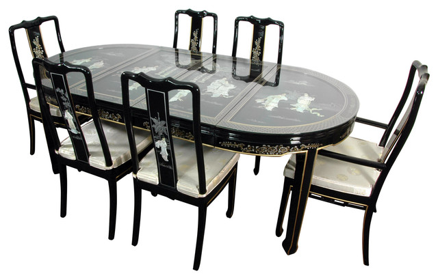 Lacquer 7-Piece Dining Room Set, Black Mother Of Pearl