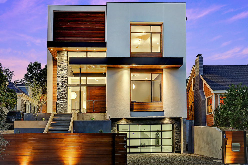 Gorgeous Houston modern home with wood and stucco accents ...