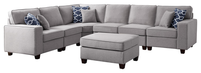 casanova 7pc modular sectional sofa ottoman in light gray linen
