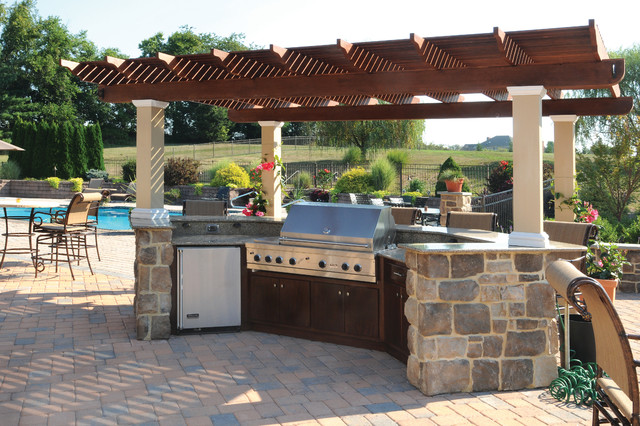 Patio Built-In Grill with Pergola - Mediterranean - Patio ... on Built In Grill Backyard id=30099