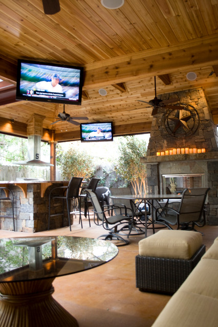 Outdoor Living Spaces - Rustic - Patio - Houston - by Wood ... on Outdoor Living And Patio id=29246