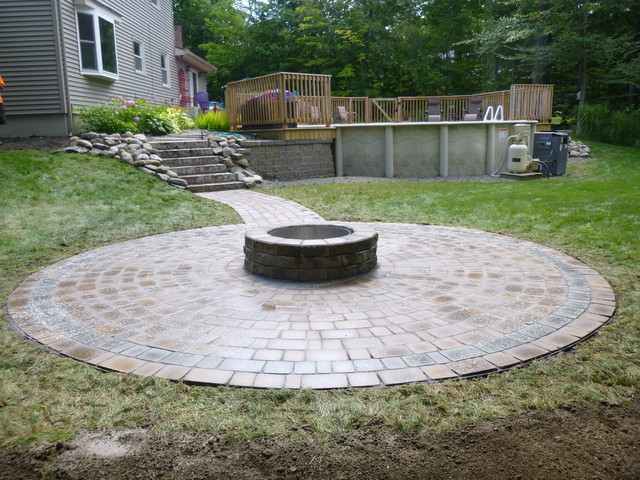 Fire pit and paver walkway - Traditional - Patio - New ... on Paver Patio Designs With Fire Pit id=41237