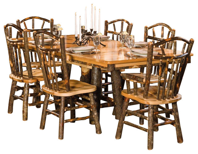 rustic trestle dining table with 6 wagon wheel chairs