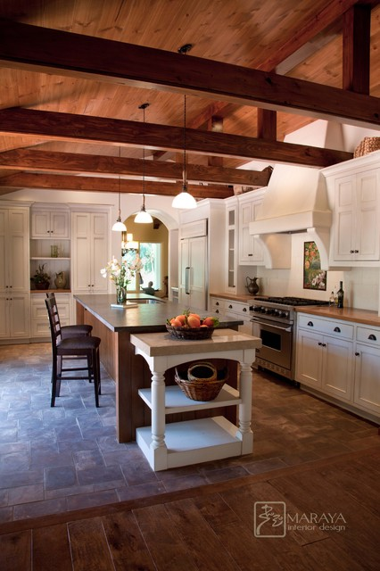 Spanish Revival Home Farmhouse Kitchen Santa Barbara