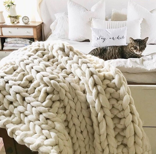 Chunky Knit Throw Blankets shabby-chic-style-bedroom