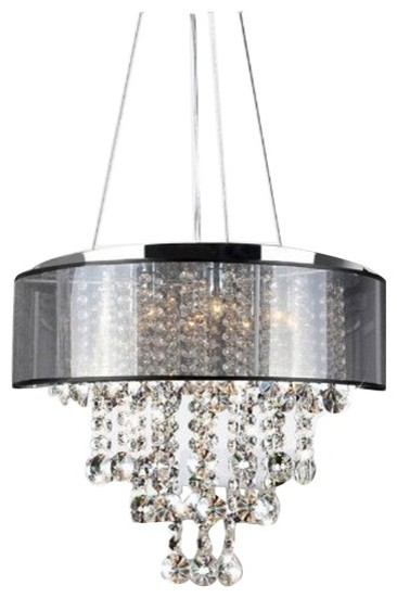 Visalia Chrome And Translucent Black Shade 9 Light Crystal Chandelier Chandeliers