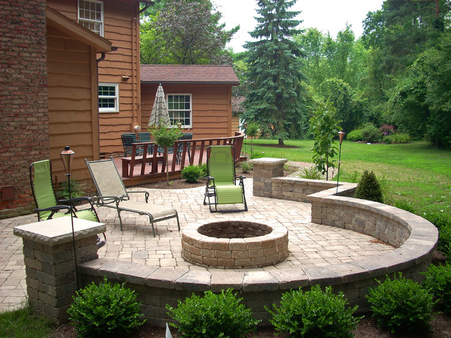 Backyard Fire Pit - Traditional - Patio - Cleveland - by ... on Backyard Patio Designs With Fire Pit  id=35754