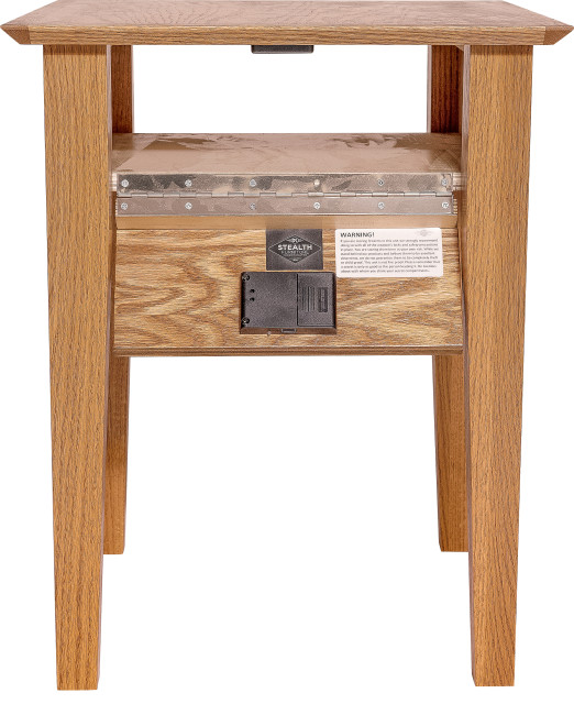 hidden compartment end table autumn stain wireless lock