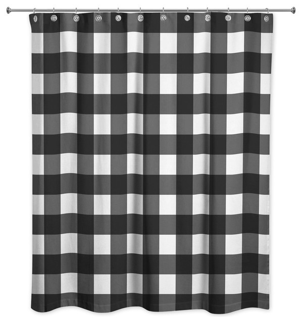 buffalo check black shower curtain home
