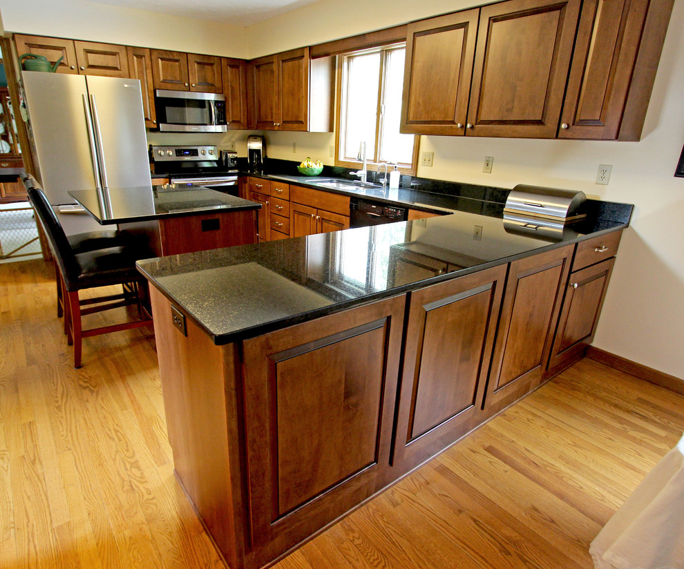 Maple Kitchen Cabinets with Black Pearl Granite ... on Maple Cabinets With Black Countertops  id=66870