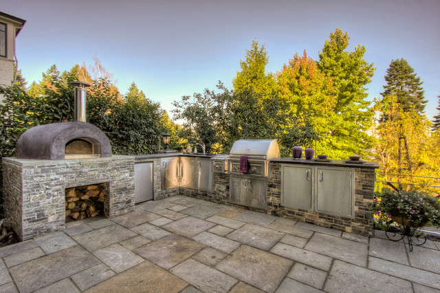 Outdoor Kitchen & Pizza Oven - Mediterranean - Patio ... on Outdoor Patio With Pizza Oven id=83826