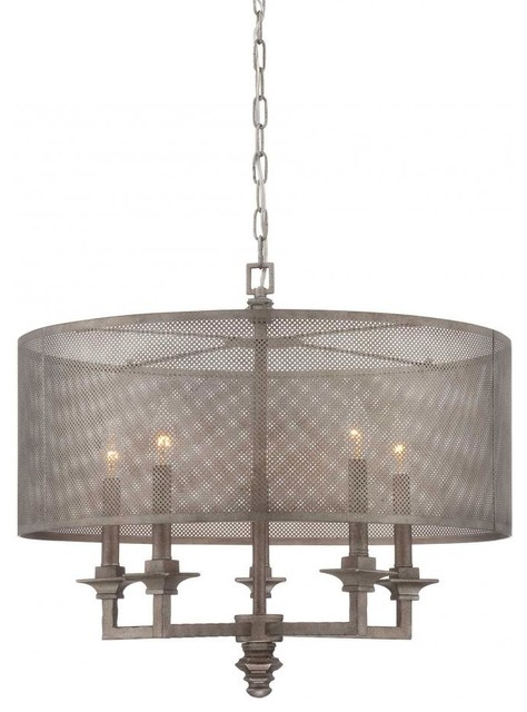 Five Light Metal Mesh Shade Aged Steel Drum Shade