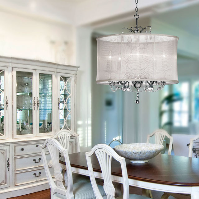 Organza Silk Drum Shade Crystal Chandelier Traditional