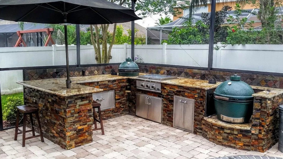 Outdoor Kitchen & BBQ Island - Transitional - Patio - by ... on Backyard Patio Grill Island id=78364
