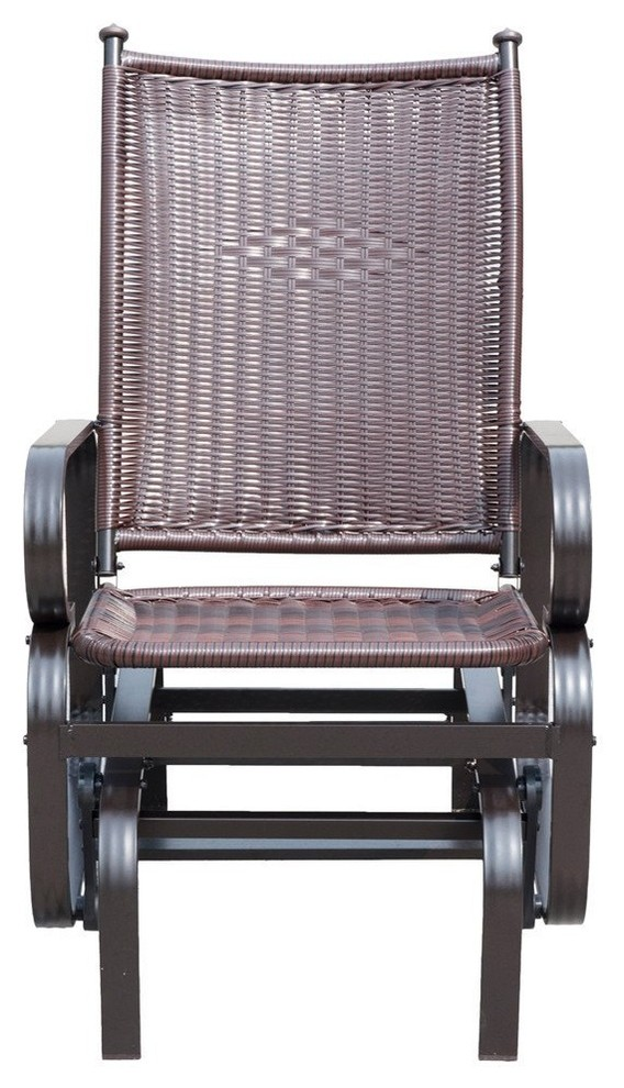 patiopost glider chair outdoor pe wicker patio rocking chair brown