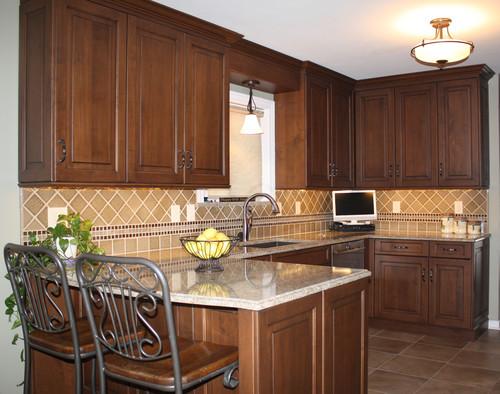 Cambria Berkeley Dark Cabinets Backsplash Ideas on Dark Maple Cabinets  id=52971