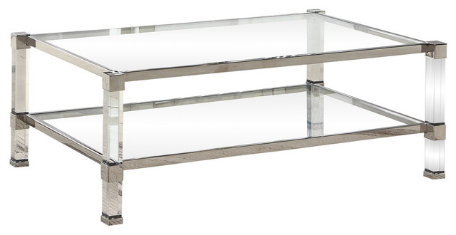 best master monroe clear glass with acrylic legs coffee table in silver base