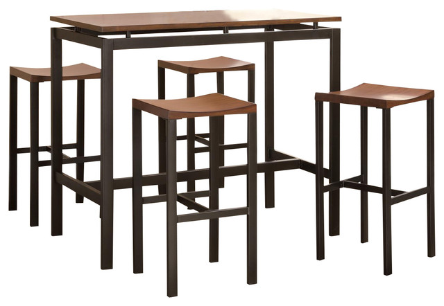 Atlus Counter Height Dining Set Black Metal Table W/ Warm
