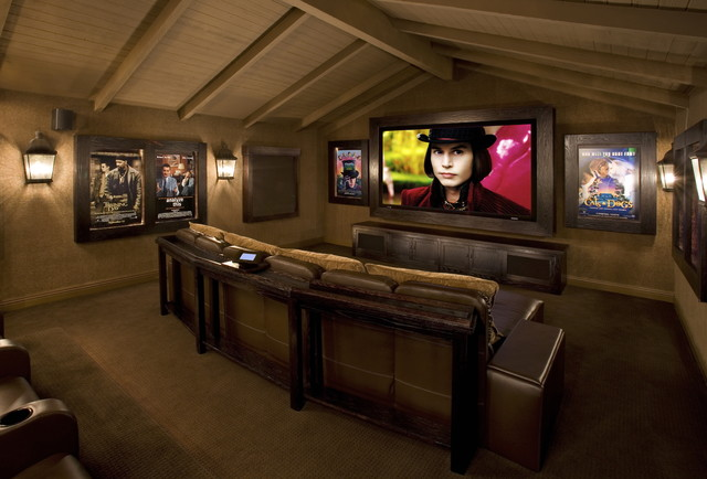 Contemporary Media Room rustic-home-theater