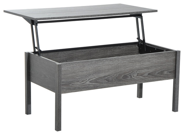 homcom 39 modern lift top coffee table desk with storage light grey woodgrain