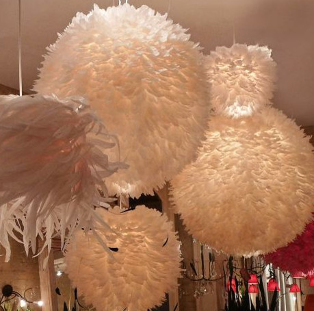 Feather Ball Fixture Contemporary Chandeliers By