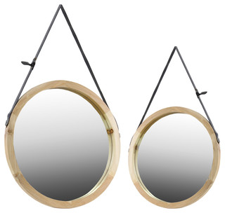Wood Round Mirrors, 2-Piece Set