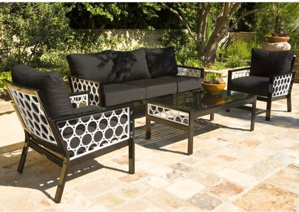 Black And White Outdoor Sofa, Lounge Chair And Table