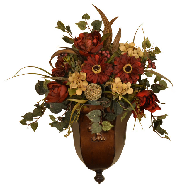 Burgundy Silk Flower Wall Sconce - Faux Feathers ... on Wall Sconces With Flowers id=84233