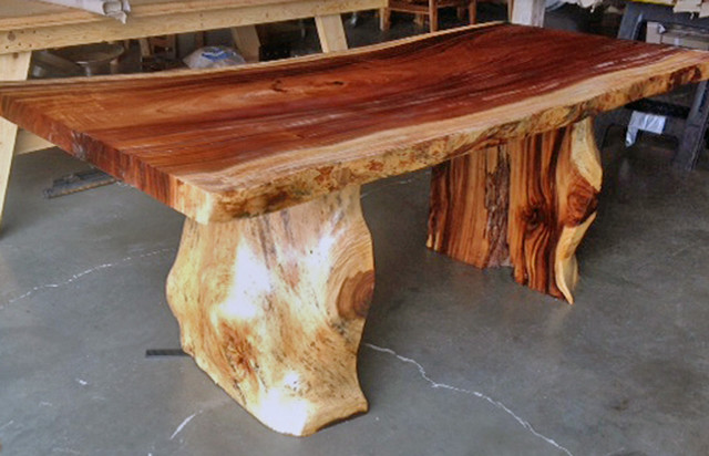 """Natural Edge Dining Table With Tree Trunk Legs, 40"""" X 8'-0"""