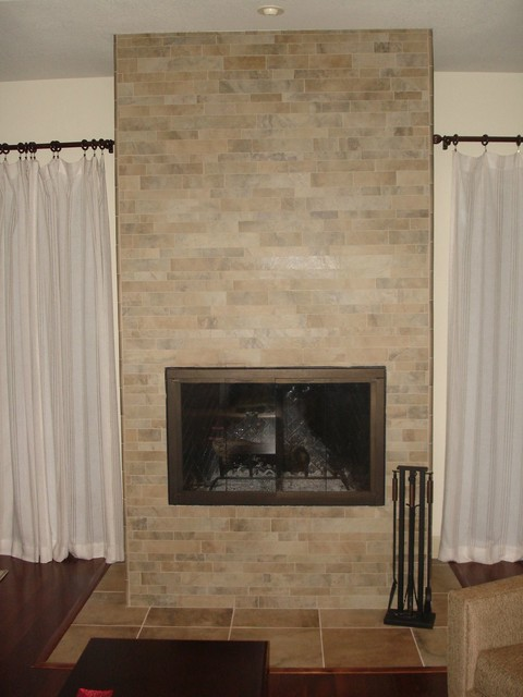 Fireplace Porcelain Stacked Tile Traditional Living