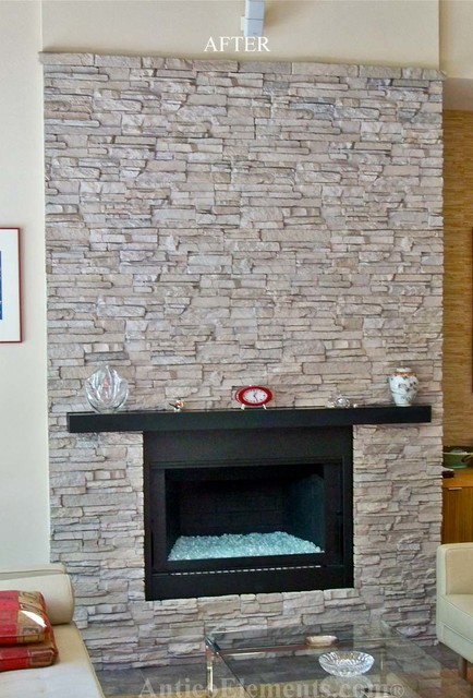 Faux Stone Fireplace Contemporary Family Room Miami