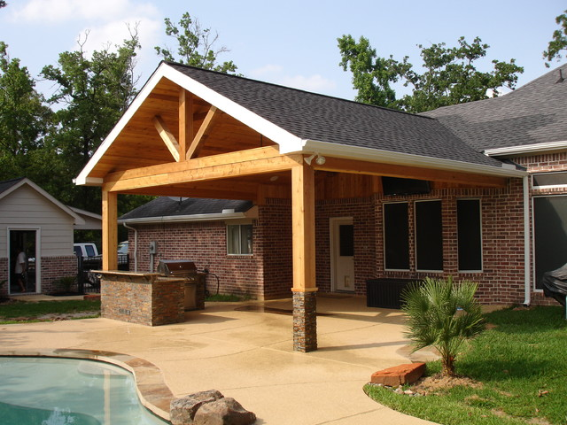 Cedar patio cover with outdoor kitchen - Patio - Houston ... on Backyard Patio Cover Ideas  id=85146