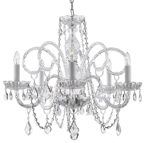 Gallery 5 Light Murano All Crystal Chandelier Traditional Chandeliers