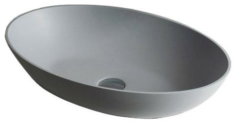 id solid surface 24 vessel sink bowl above counter sink light gray