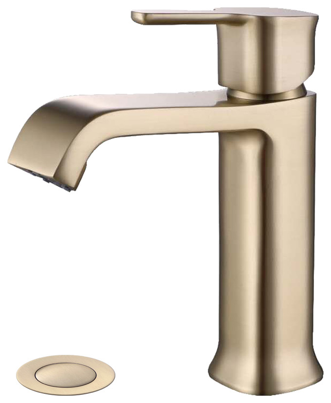 single hole bathroom faucet with drain assembly brushed gold