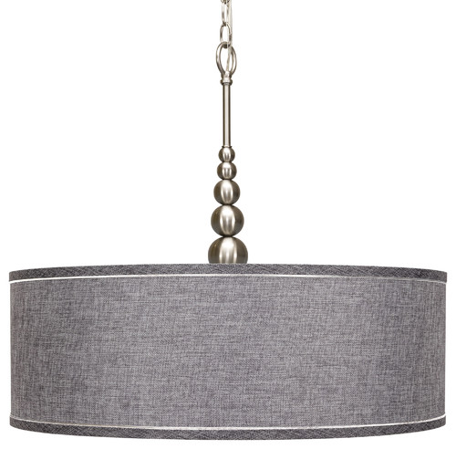 "22"" Brushed Nickel Chandelier, Gray Drum Shade and Tempered Glass Diffuser, Brus"